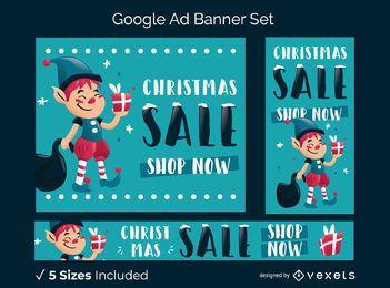 Conjunto de banner publicitario de Navidad