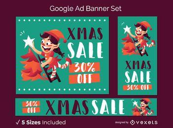 Conjunto de banner de navidad google ad