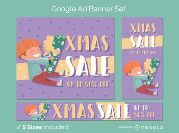 Conjunto de banner de desconto de Natal