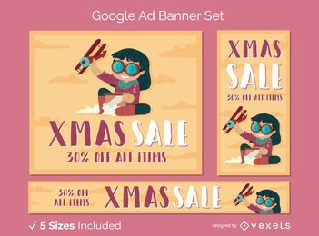 Conjunto de banner de anúncio de Natal do Google
