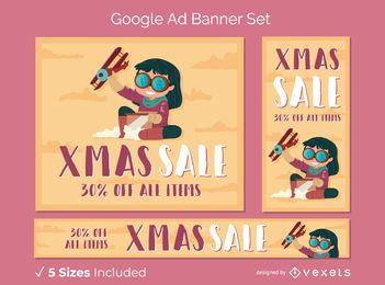 Conjunto de banner de anúncio do Google no Natal