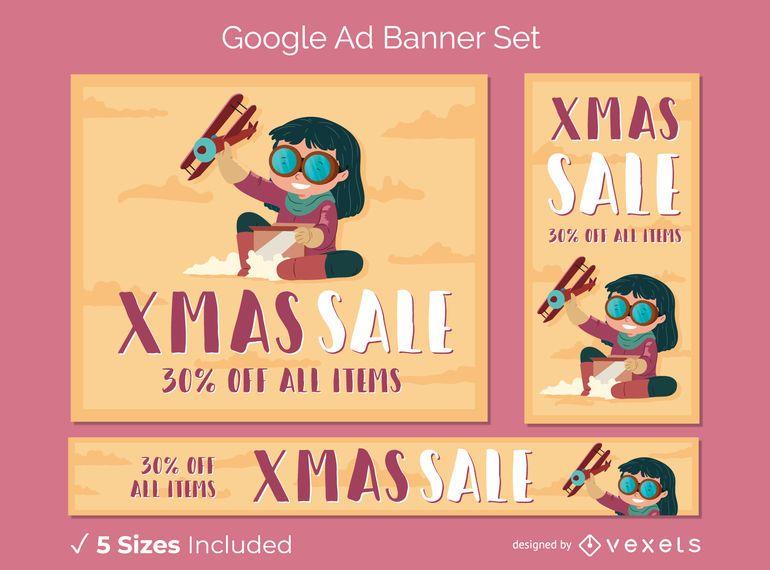 Conjunto de banner de anuncios de google de navidad