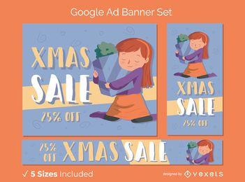 Banners de anuncios de google de venta de navidad