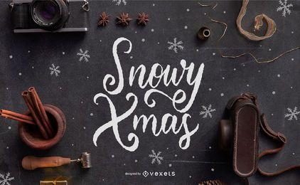 Diseño de letras navideñas nevadas