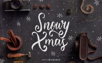 Desenho de letras de natal com neve