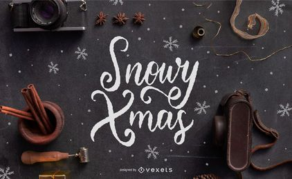 Diseño de letras de navidad nevado