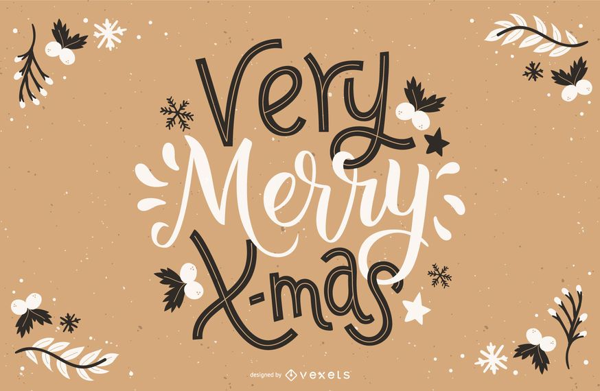 Very merry x-mas lettering