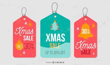 Conjunto de etiquetas de venta navideña