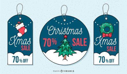 Conjunto de etiquetas de venta de Navidad