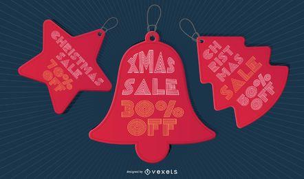 Conjunto de etiqueta de preço de venda de Natal