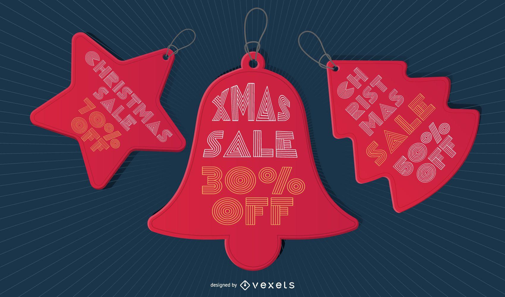 Conjunto de etiquetas de precio de venta de Navidad