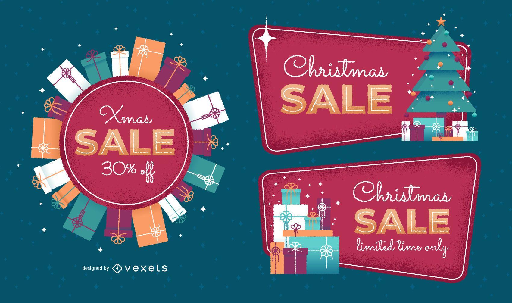 Christmas sale badge set