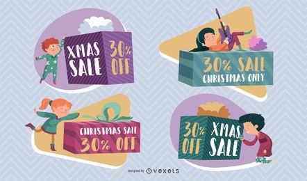 Weihnachtsverkaufs-Kinderausweissatz