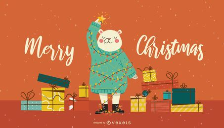 Christmas tree bear illustration