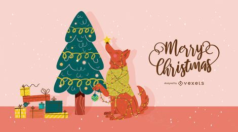 Christmas dog tree illustration