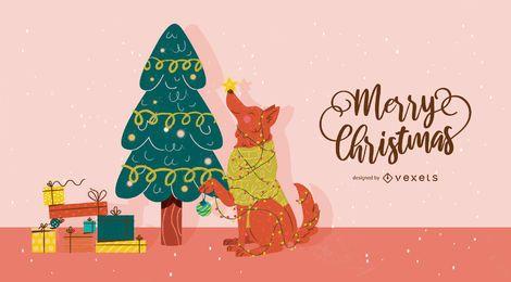 Ilustração de árvore de cachorro de Natal