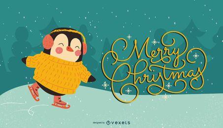 Pingüino de Navidad ilustración de patín de hielo