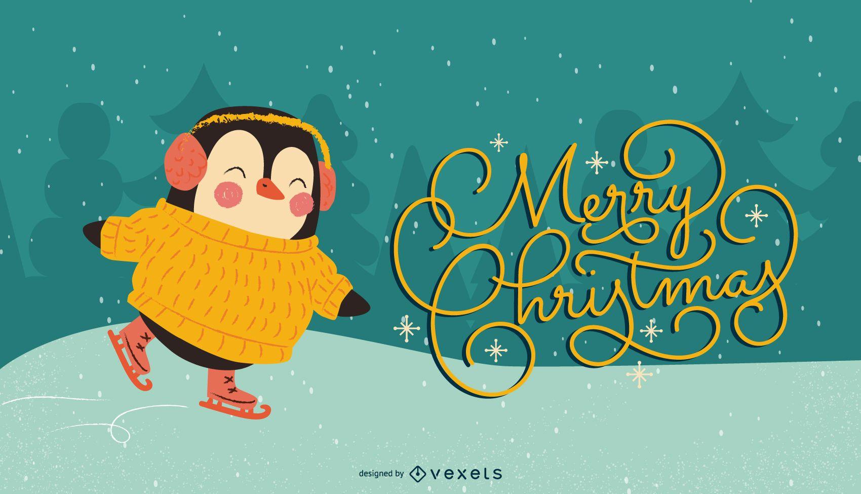 Christmas penguin ice skate illustration