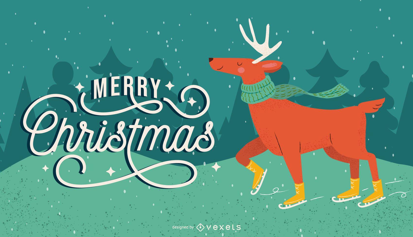 Ilustración de patín de hielo de renos navideños