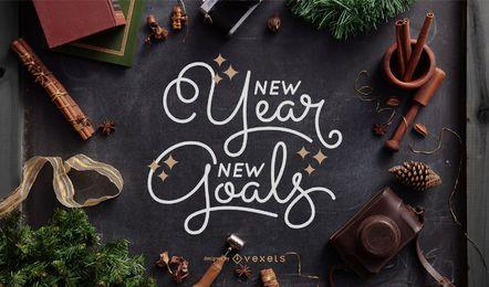 Beschriftung der neuen Ziele des neuen Jahres