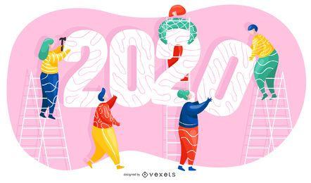 Ilustración de año nuevo 2020