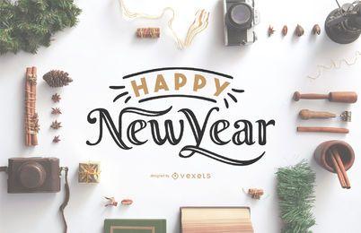 Frohes neues Jahr Beschriftung 2020