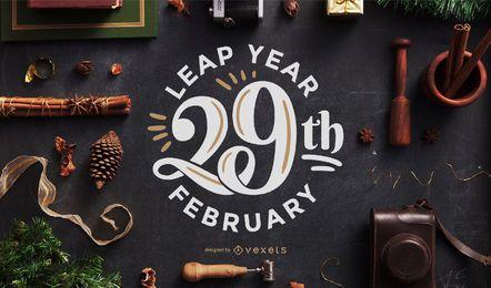 Schaltjahr Schriftzug Design
