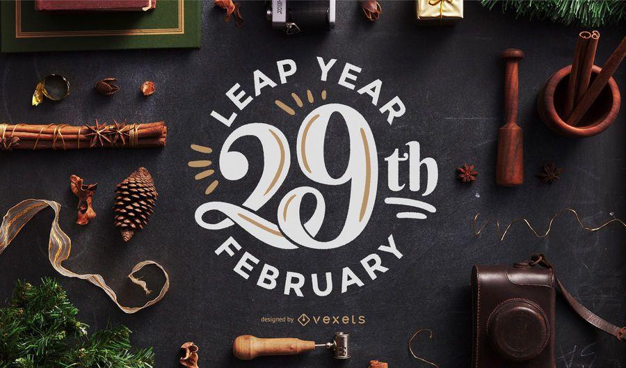 Diseño de letras de año bisiesto