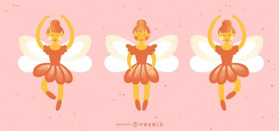 Nutcracker fairies vector set