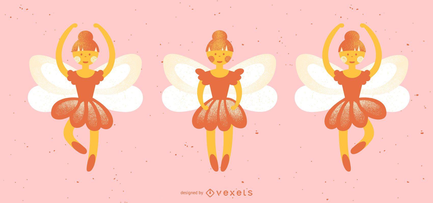 Nutcracker fairies vector set