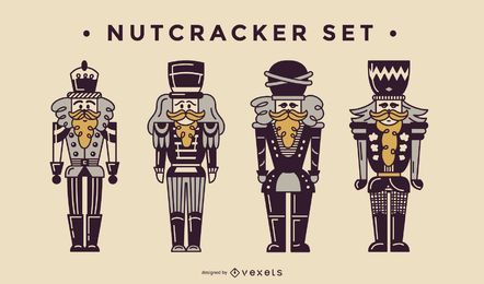 Nutcracker duotone vector set