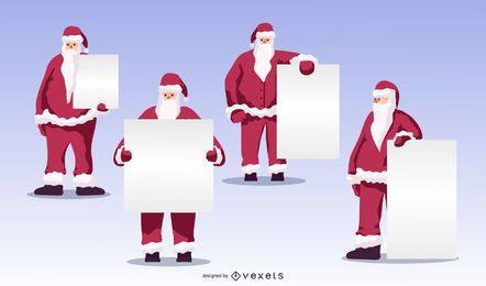 Conjunto de vetores de placas em branco de Papai Noel