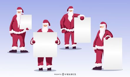 Santa blank boards vector set