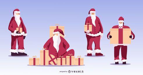 Santa con conjunto de vectores de regalos