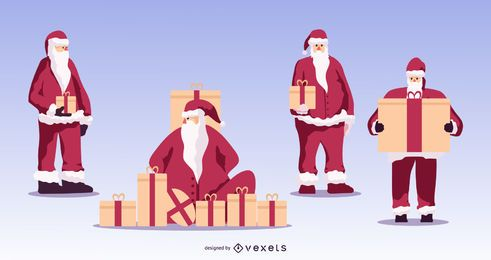 Santa with gifts vector set