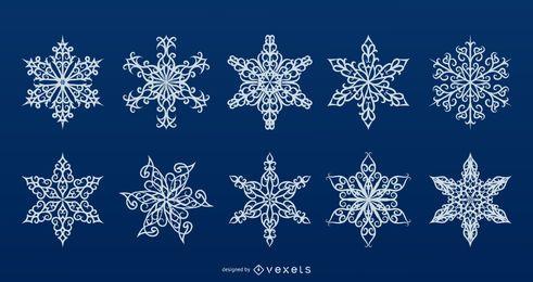 Coleção detalhada de vetores de flocos de neve