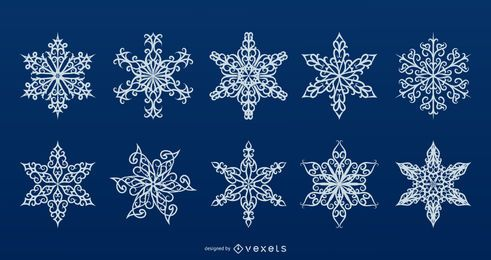Detailed snowflakes vector collection