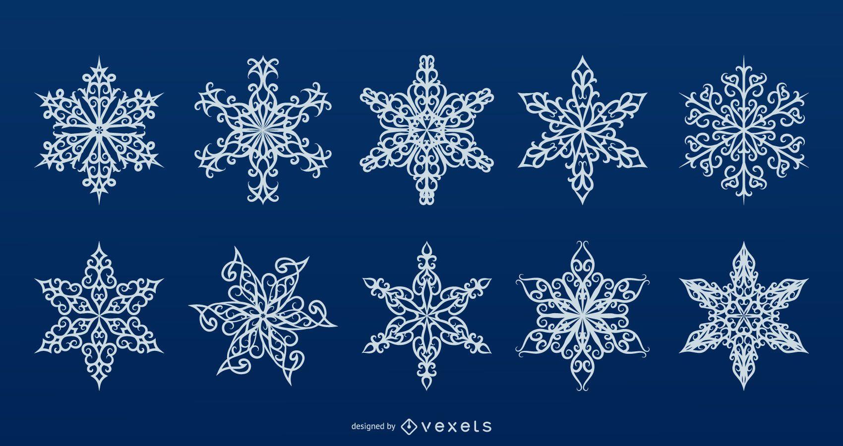 Colección detallada de vectores de copos de nieve