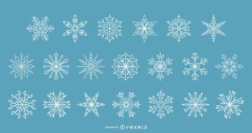 Coleção de vetores de inverno de flocos de neve