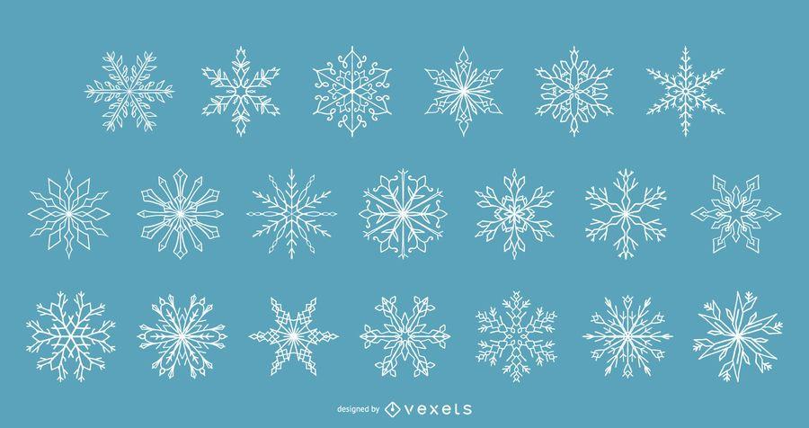 Coleção de vetores de flocos de neve de inverno