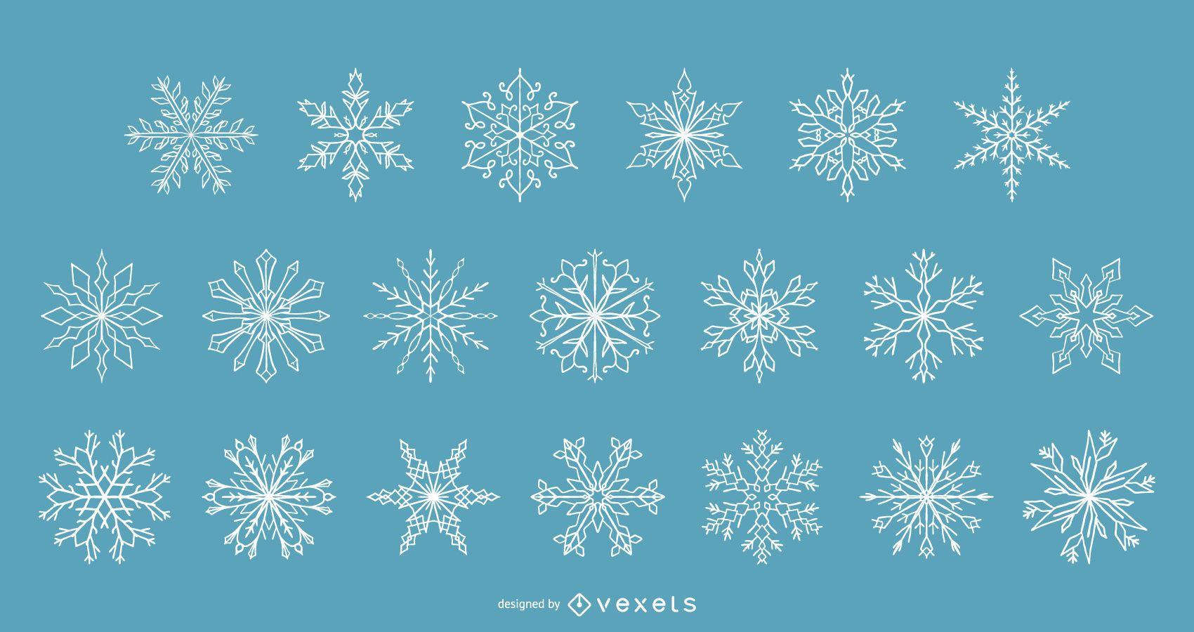 Colección de vectores de invierno de copos de nieve