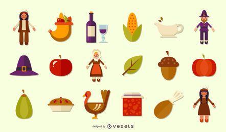 Coleção de ícones plana de ação de Graças
