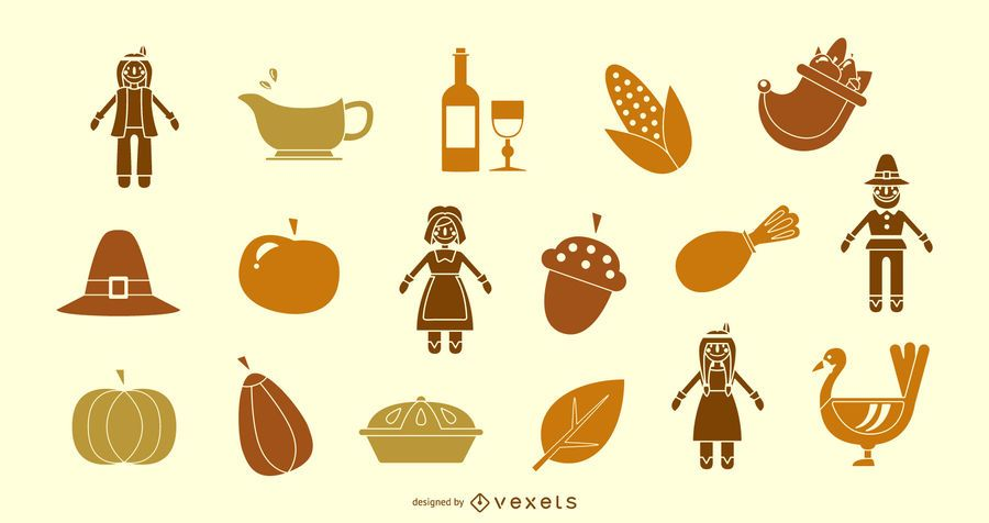 Thanksgiving silhouette icon collection
