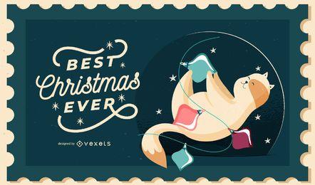 Diseño de ilustración de gato de Navidad