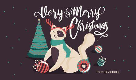 Ilustración linda del gato de navidad