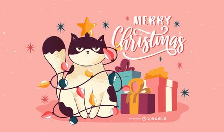 Grumpy christmas cat illustration