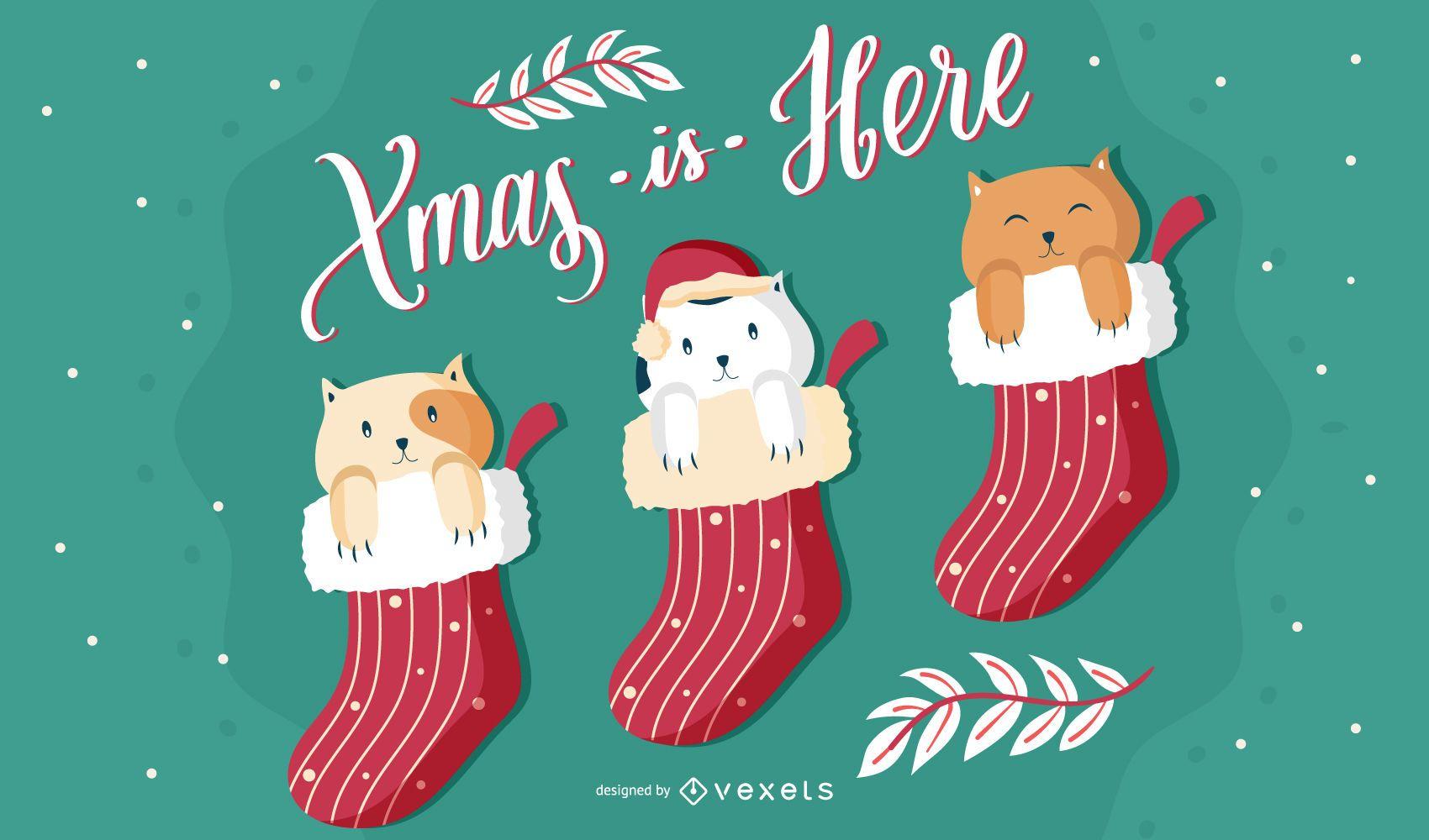 Linda ilustraci?n de gatos de navidad