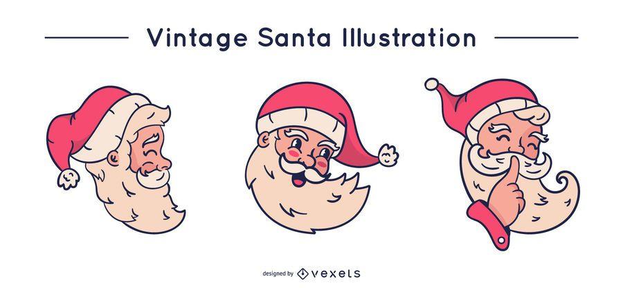 Vintage santa vector set