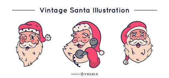 Conjunto de Papai Noel vintage