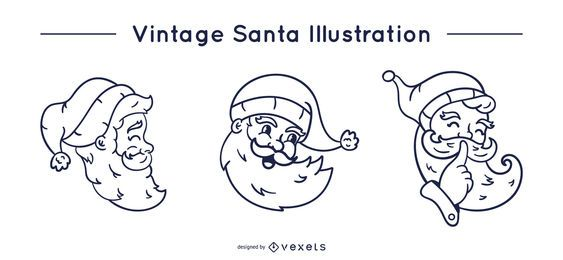 Vintage Santa Schlaganfall gesetzt